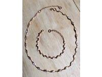 Debenhams rose gold necklace and bracelet set