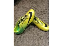 Nike mercurial football boots in lime green colour size 7