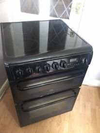 99 Hotpoint 60cm Double Oven 4 Ring Glass Hob Electric Cooker 1 YEAR GUARANTEE FREE DEL N FIT
