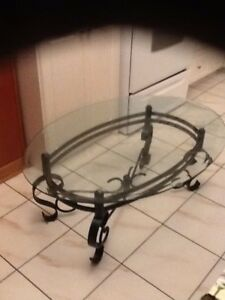 Glass and metal coffee table    - good  condition