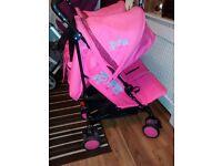 Double pink pram buggy zia