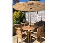Bramblecrest teak oval folding garden furniture set