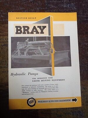 Bray Hydraulic Pumps Double Sided Sales Brochure From The Early 1950's.