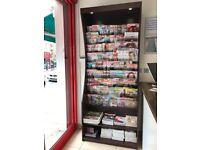 Newsagent, Shop, Magazine, Newspaper, Book, Wooden, Display Unit, Stand, Rack