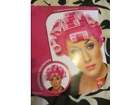PINK FANCY DRESS WIG WITH CURLERS MRS MOP / GRANNY PARTY OR HEN DO