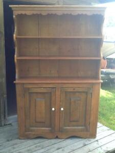 ANTIQUE PINE FLAT TO WALL DISH CUPBOARD