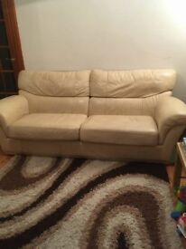 Cream Leather 3 Seater and 1 Seater