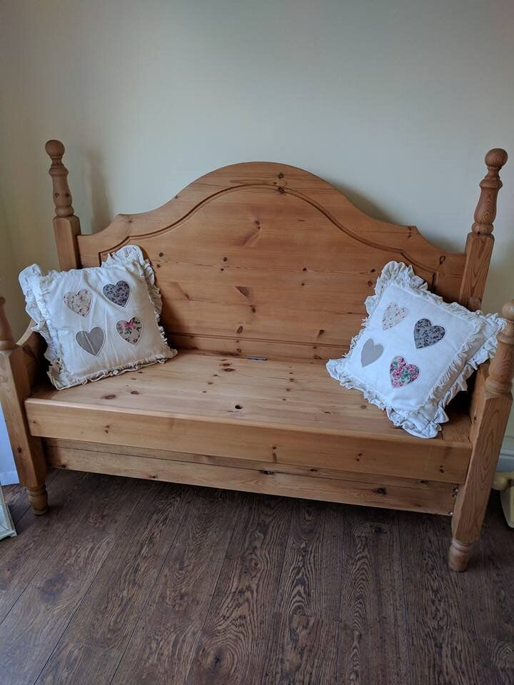 Bench storage made from an old pine bed