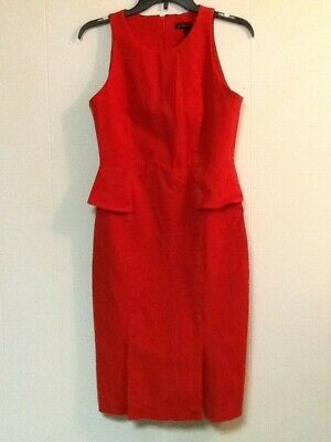 Banana Republic Dress Sz 8 Red/Orange Sleeveless Peplum Sheath Midi Stretch EUC