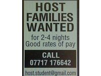 Host families wanted for French students 2-4 nights