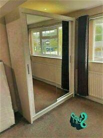 🔵💖🔴LOWEST PRICE OFFER 🔵💖🔴BERLIN 2 DOOR SLIDING WARDROBE FULL MIRROR SHELVES & DRAWERS
