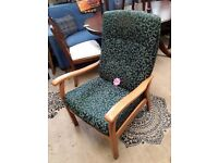Vintage teak fabric wood chair Copley Mill LOW COST MOVES 2nd Hand Furniture STALYBRIDGE SK15 3DN