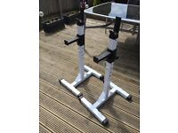 Heavy Duty Adjustable Gym Squat Barbell Power Rack Stand Weight Bench Support