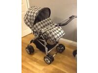 Mamas and Papas travel system. Immaculate-used as spare by grandparents and has had little use.
