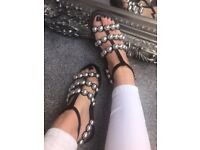 BNIB black stud sandals sizes 3-8