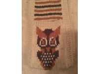 Long brown scarf with pockets - owl design