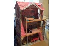 Wooden 'Barbie' Dolls house with furniture