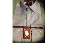 """mens size 15"""" collar pale blue marks and spencer long sleeve shirt rrp £45"""