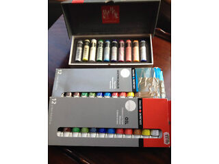Daler rowney oil paint set, watercolour paint set and water soluble wax pastels