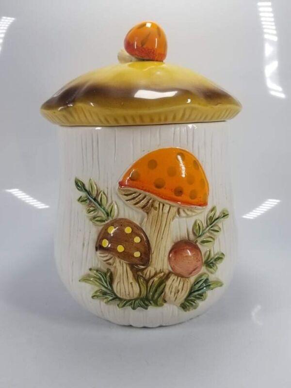 """Vintage SEARS 1978 MERRY MUSHROOM  8 1/2"""" Tall Canister/Cookie Jar And Lid"""