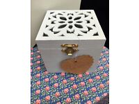 Lovely Shabby Chic Grey Trinket Box with Flower Cut out