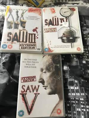 Horror DVD Bundle x 3 SAW 3,4, & 5 Extreme Edition