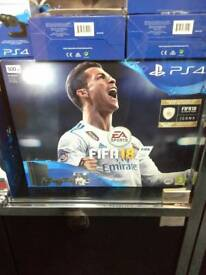 PS4 WITH FIFA 18 AND TWO CONTROLLERS