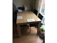 Oak Dining Table (plus 6 Chairs)
