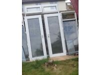 White PVC French doors side lights and top lights