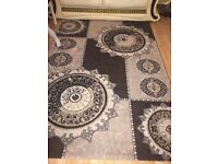 160x230 large glitter rug livingroom floor carpet brown cream gold damask patten quick sale acton