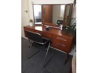 Retro teak G plan desk/dressing table and chair