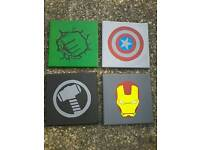 Handmade canvases superhero logo