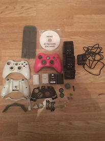 xbox 360 pink controller and accessories