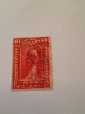 1900 U S  Internal Revenue Documentary  1 Stamp Scott   R182 Ladenburg Thalmann