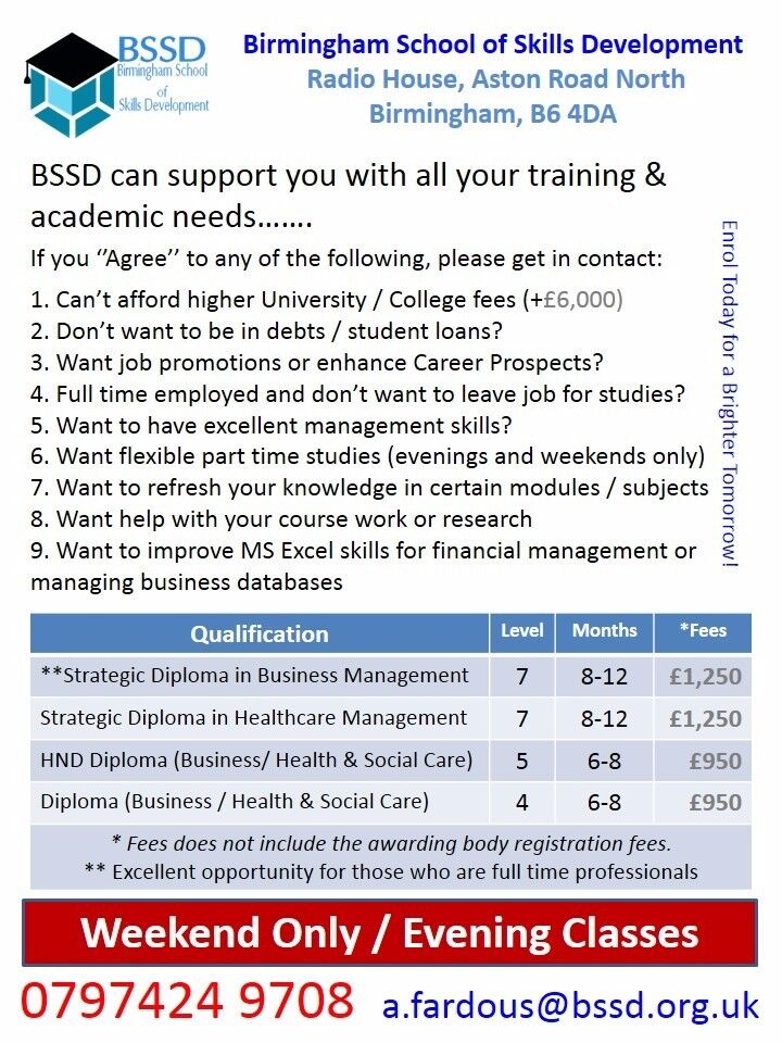 Weekend And Evening Classes For Hnd Diploma In Business Management