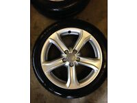 4 Genuine used Audi Alloys with 4 new tyres
