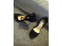 black sequin high heels size 3 with ankle straps