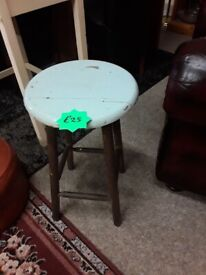 Vintage solid wood stool Copley Mill Low Cost Moves 2nd Hand Furniture STALYBRIDGE SK15 3DN