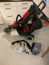 Phil&teds navigator double buggy travel system red and black excellent condition