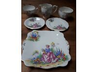 Bell vintage fine bone china Pretty garden scene set, tea cups, saucers, side plates, etc