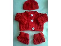 New Hand Knitted 3pcs- jacket, booties, beanie set, newborn baby / reborn