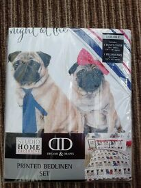 Pug Double Duvet Set. Brand New.