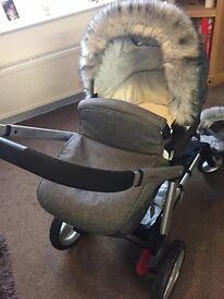 Grey Pram hood fur