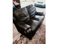 Two Piece Brown Leather Recliner Sofas