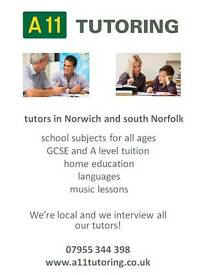 Tutors for a range of subjects in Norwich and Wymondham.