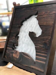 Reclaimed wood silhouette wall piece