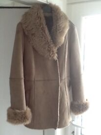 Gerry Webber Edition Taupe Suede and faux fur jacket with tie belt Size 18