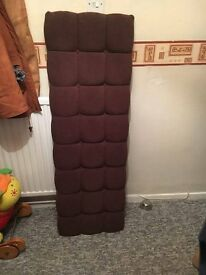 Wall Mounted Double bed Headboard . Brown Velor with matching buttons