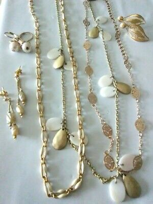 DELICATE GOLD FILIGREE LOT Ralph Lauren Chaps Necklace Pearl Drop Earrings