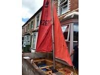 Sails: suitable for mirror dighy (gaff rigged), mast, spars & rigging; VGC